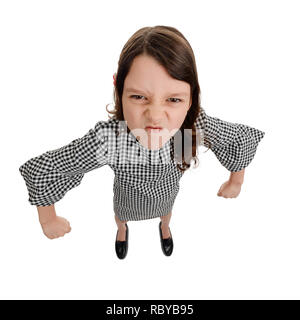 Angry kid with fists ready - Stock Photo