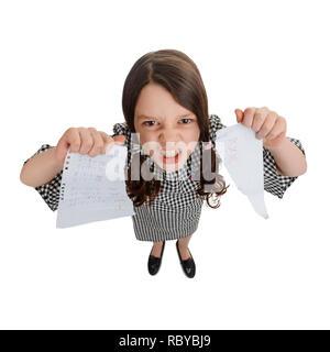Girl is mad of school - Stock Photo