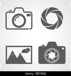 Camera icons, aperture icon, photo icon. Vector illustration. Set of flat icons isolated - Stock Photo