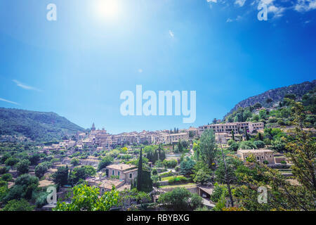 View of Valdemossa - old town in mountains of Mallorca island - Stock Photo