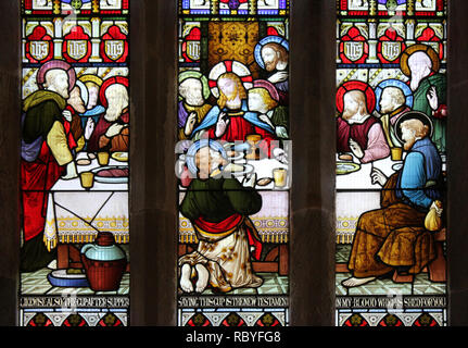 Stained Glass Window Depicting The Last Supper In The Church of St Maelog, Llanfaelog, Anglesey - Stock Photo