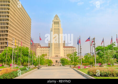 Front view of Los Angeles City Hall and Civic Center buildings in Downtown of LA. The building is home to the government and mayor of city of Los Angeles, California, United States. Urban cityscape. - Stock Photo