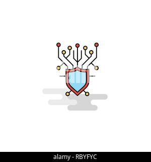 Flat Cyber security  Icon. Vector - Stock Photo