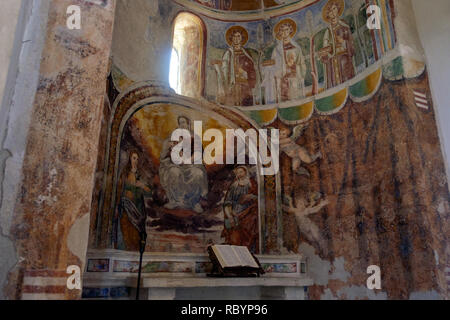 The abbey 'Sant'Angelo in Formis' is of particular historical value. Its church was built in the eleventh century and shows valuable frescos. - Stock Photo