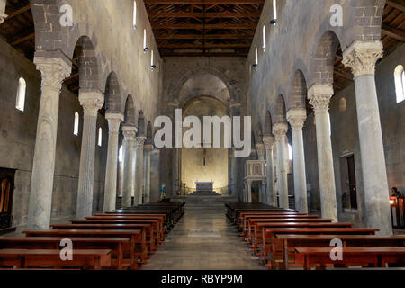 The cathedral of Casertavecchia is a romanesque masterpiece in the region of Campania. It has little decoration and has an impressive, mystical style. - Stock Photo