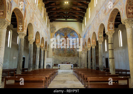 The basilica of 'Sant'Angelo in Formis' is of particular historical value and has impressive frescos, like the one of Christ in the apse. - Stock Photo