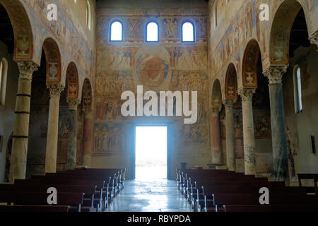 The basilica of 'Sant'Angelo in Formis' is of particular historical value. When looking outside, you get this impressive view with valuable frescos. - Stock Photo