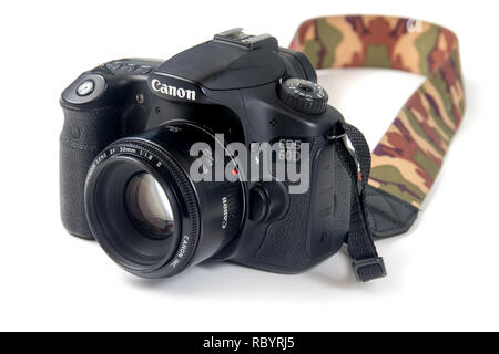 Sorel-Tracy, Canada-12 janurary 2019 : Canon 60D reflex camera body DSLR over white background - Stock Photo