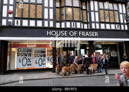 House of Fraser department store in Shrewsbury closing down sale sign in December 2018 Shropshire England UK  KATHY DEWITT - Stock Photo