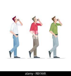 Man is talking on the phone with different clothes. Vector illustration. - Stock Photo