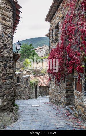 Stone houses in Patones de Arriba, Madrid, Spain - Stock Photo