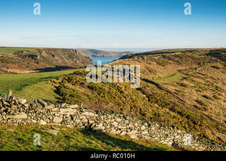 Rocky pasture divided with dry stone walls. Bolt Head, Salcombe, South Hams. Devon. UK - Stock Photo