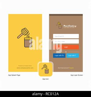 Company Honey  Splash Screen and Login Page design with Logo template. Mobile Online Business Template - Stock Photo