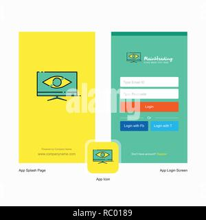 Company Monitor  Splash Screen and Login Page design with Logo template. Mobile Online Business Template - Stock Photo