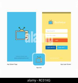 Company Television Splash Screen and Login Page design with Logo template. Mobile Online Business Template - Stock Photo