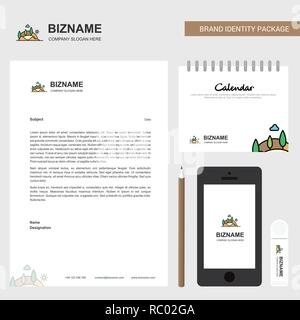 Scenery  Business Letterhead, Calendar 2019 and Mobile app design vector template - Stock Photo