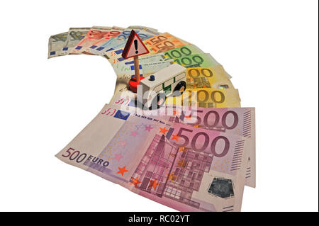 Geldscheine mit Auto | Banknotes with car - Stock Photo