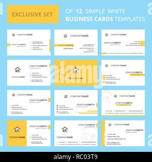Set of 12 Home Creative Busienss Card Template. Editable Creative logo and Visiting card background - Stock Photo
