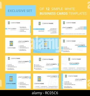 Set of 12 Real estate on phone  Creative Busienss Card Template. Editable Creative logo and Visiting card background - Stock Photo