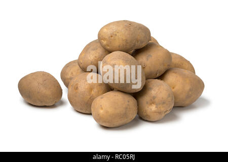 Heap of Dutch organic Opperdoezer potatoes  isolated on white background - Stock Photo