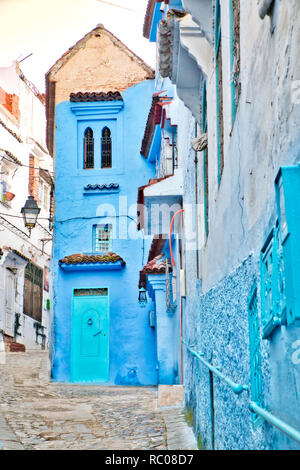 Beautiful corner of the medina of Chefchaouen, the so-called blue city, in northern Morocco - Stock Photo