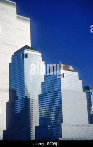 1989 Vintage  Photo of Twin Towers Behind World Financial Center, NYC, USA - Stock Photo