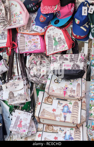 Typical souvenirs and gifts on market stalls, Pisa, Tuscany, Italy, Europe, - Stock Photo