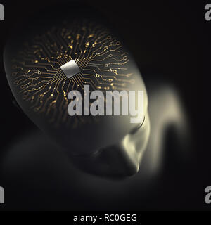 Artificial brain made of microprocessor with electrical connections and binary pulses representing the human nervous system. Concept of artificial int - Stock Photo
