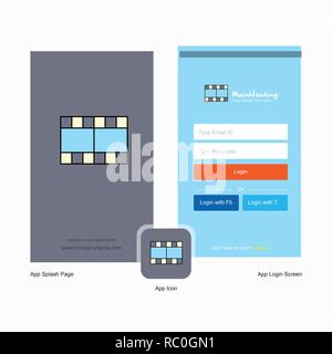 Company Film Splash Screen and Login Page design with Logo template. Mobile Online Business Template - Stock Photo