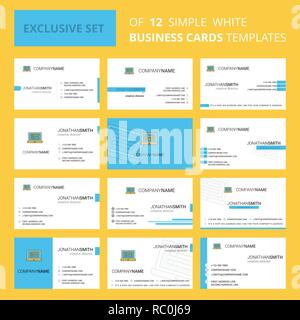 Set of 12 Laptop Creative Busienss Card Template. Editable Creative logo and Visiting card background - Stock Photo