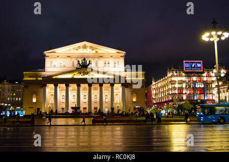 Bolshoi Theater at night in Moscow , Russia - Stock Photo