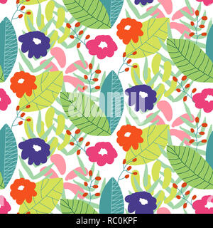 Floral seamless pattern background. Ornament with stylized leaves and flowers on hexagonal grid - Stock Photo