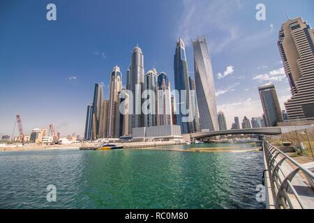 Panorama of modern skyscrapers in the center of luxury Dubai city,Dubai,United Arab Emirates