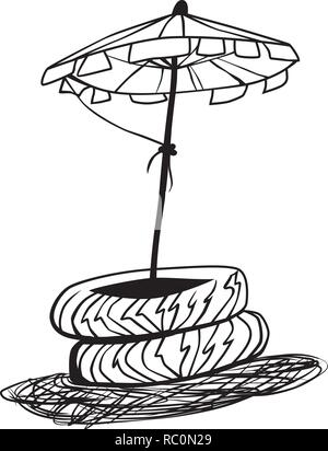 Sketch of a parasol in truck tyres by jziprian - Stock Photo