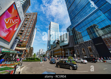 CHENGDU, CHINA - SEPTEMBER 28: This is the Ifs shopping mall and downtown city buildings near Chunxi road on September 28, 2018 in Chengdu - Stock Photo