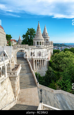 View of the amazing Fishermans Bastion in Budapest, Hungary - Stock Photo