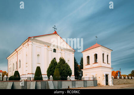 Udelo, Vitebsk Region, Belarus. Catholic Church Of Immaculate Conception Of Blessed Virgin Mary In Autumn Day - Stock Photo