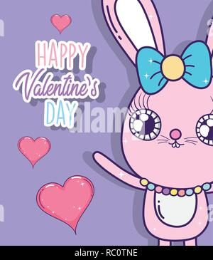 rabbit with ribbon bow and hearts to valentine day - Stock Photo