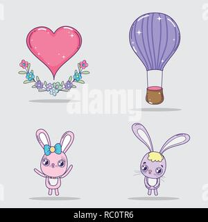 set valentine day decoration to celebrate event - Stock Photo