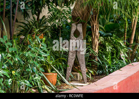 Interior courtyard of the old colonial house in Havana Cuba. Photo taken on 30 October 2018 - Stock Photo