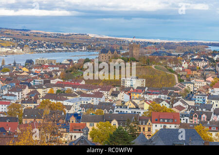 Panoramic view of Bingen with Klopp Castle, Rhine and Rüdesheim - Stock Photo