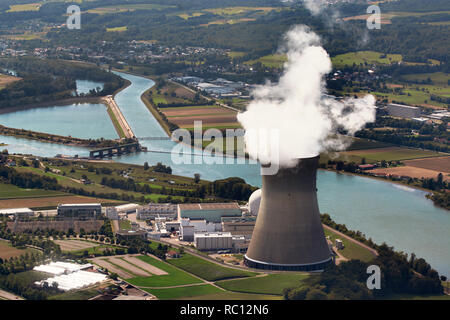 Aerial view of the the nuclear power plant Leibstadt, which is located in the canton of Aargau, Switzerland. - Stock Photo