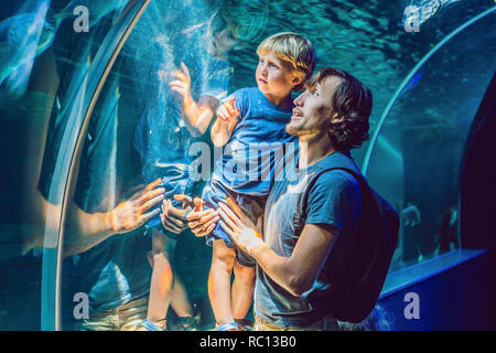 Father and son looking at fish in a tunnel aquarium - Stock Photo