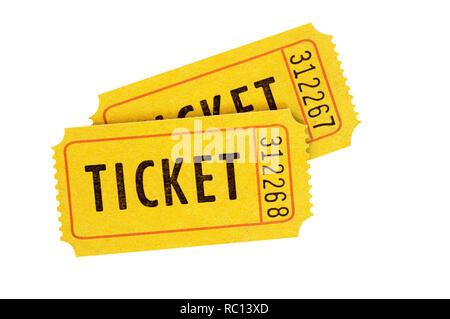 Orange admission tickets isolated on white - Stock Photo