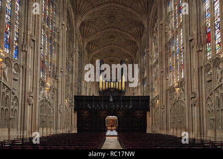 King's college chapel interior at King's college Cambridge University - Stock Photo