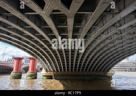 Steel lines under a bridge in London, Metal girder pattern - Stock Photo