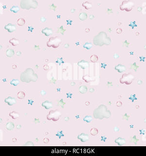 Hand drawing fly cute easter pilot bunny watercolor cartoon bunnies with airplane in the sky textile pattern. Turquoise watercolour textile illustration decoration - Stock Photo