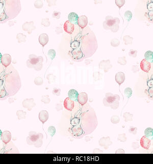 A watercolor spring illustration of the cute easter baby bunny. Rabbit cartoon animal seamless pink pattern with balloons - Stock Photo