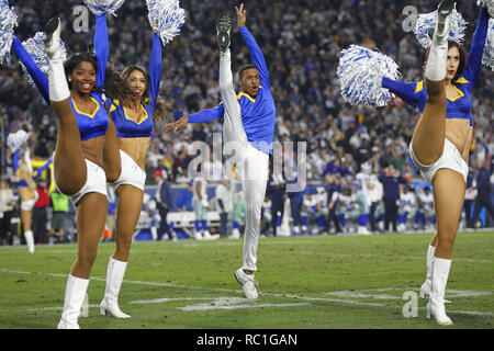 Los Angeles, California, USA. 12th Jan, 2019. Los Angeles Rams cheerleaders perform during a NFC Divisional playoff game against the Dallas Cowboys at the Los Angeles Memorial Coliseum. The Rams won 30-22. Credit: KC Alfred/ZUMA Wire/Alamy Live News - Stock Photo