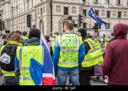 London, UK. 12 January 2019. Treason May. Pro-Brexit supporters stop the traffic at Parliament Square during a march in London. David Rowe/Alamy Live News. Credit: David Rowe/Alamy Live News - Stock Photo
